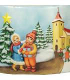 Bougie de Noël comme autrefois enfant et village