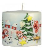 Bougie de Noël vintage scène bonhommes de neige et sapin
