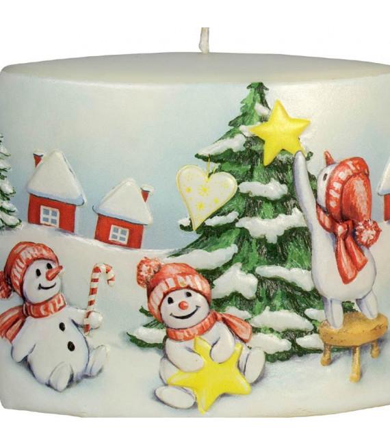 Bougie de Noël comme autrefois bonhommes de neige et sapin