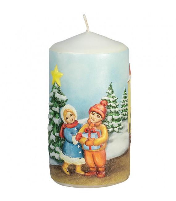 Bougie de Noël décorative, motif vintage enfant et village