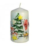 Bougie vintage de Noël, bonhommes de neige et sapin