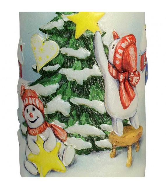 Bougie décorative de Noël, motif vintage bonhommes de neige et sapin