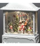 Lanterne de Noël blanche, 4 bonshommes de neige avec oiseaux