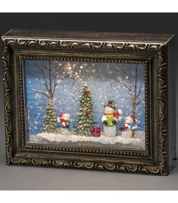 Cadre photo lumineux avec bonshommes de neige