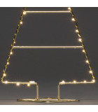 Sapin de Noël lumineux Led 60 cm, métal couleur laiton