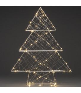 Sapin de Noël lumineux argenté 100 diodes Led, 60 cm