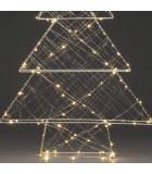 Sapin de Noël métallique argenté 100 diodes Led, 60 cm