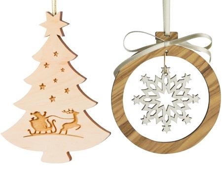 Décorations en bois pour sapin de Noël